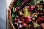 A dressing made with preserved lemons imparts extra dimension to Park Kitchen's Beets And Chilies Salad With Walnut Pesto.
