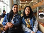 Berta Velasquez, left, and her daughter Leslie Velasquez of College Place, Wash., in the library at Concordia University in Portland, Ore., Tuesday, July 30, 2019.