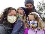 Erin Boni, an ICU nurse at OHSU, shown with her family.