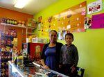 Frutas Locas owner Gabriela Mendoza and her son.