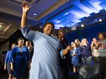 Georgia Democratic gubernatorial candidate Stacey Abrams left the stage after addressing supporters during an election night watch party in 2018. She accepted her loss but never conceded.