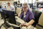 Julie Epling, RN, works a shift at OHSU's Mission Control, in May, 2018. (Photo courtesy OHSU)