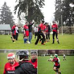 Clockwise, from top: Curt Yackell gives instructions as the Red Branch camogie team heads out for their first-ever match; Paula Konomos clears a ball downfield; Kristin Pollock smiles as rain drenches the team.