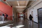 A hallway is mostly empty after students go to first period on Sept. 1, 2021, at Kellogg Middle School in southeast Portland .