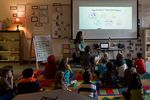 """At Rock Creek Elementary, Evelyn Hinds and her students watch a video on the """"Protect Yourself"""" rules."""