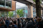 Hundreds crowded at Portland State University Friday, June 12, 2020, to show their support for disarming campus police officers.