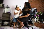 LaTasha Taylor asks her daughter Saniyah, 3, about her upcoming birthday party at their home Friday, June 19, 2020, in Portland, Ore.
