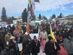 Protesters in Burns, Oregon march toward the home of Dwight Hammond, a local rancher convicted of arson on federal land. The Jan. 2 protest was peaceful, but ended with a group of militiamen occupying the Malheur National Wildlife Refuge.