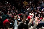 Fans cheer Carmelo Anthony (00) during a National Basketball Association game between the Portland Trail Blazers and the Oklahoma City Thunder on Nov. 27, 2019. The Blazers won 136-119.