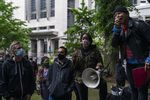 Lillith Sinclair speaks about police abolition and a number of other demands at a rally attended by Mayor Ted Wheeler in front of the Justice Center on June 5, 2020. Wheeler said Friday afternoon he plans to order a 30-day ban on tear gas after the city came under criticism for using the the controversial method of crowd conrtrol.