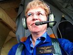 NOAA chief Jane Lubchenco aboard the agency's Hurricane Hunter aircraft during Tropical Storm Issac, 2012. The storm was later upgraded to hurricane status.